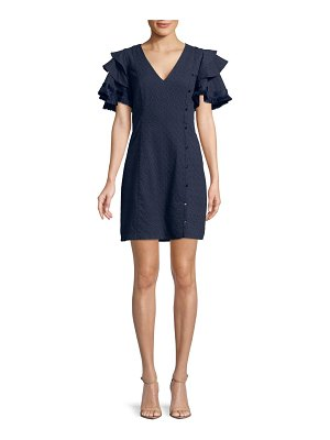 Belle Badgley Mischka Fringed Tiered Ruffle Sleeve Dress