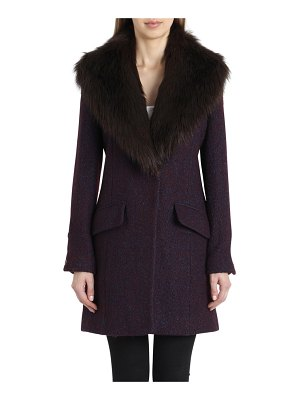 Belle Badgley Mischka 'holly' faux fur collar boucle coat