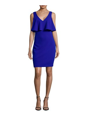 Belle Badgley Mischka Ruffle V-Neck Sheath Dress