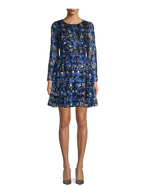 Belle Badgley Mischka Sedona Embroidered Floral Lace A-Line Dress