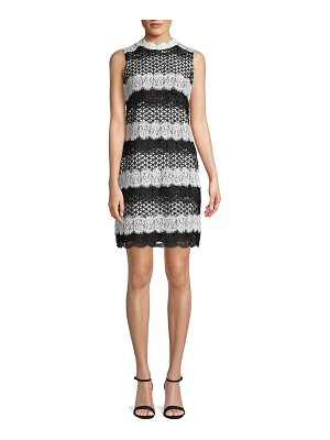 Belle by Badgley Mischka Classic Lace-Trimmed Sheath Dress