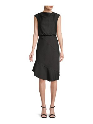 Belle by Badgley Mischka Pinstriped Blouson Dress