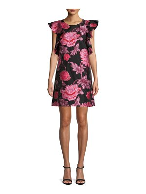 Belle by Badgley Mischka Ruffled Flutter-Sleeve Jacquard Dress