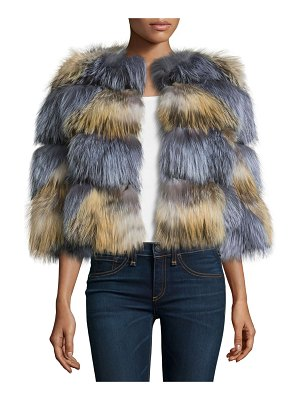 Belle Fare Boxy Two-Tone Fox Fur Jacket