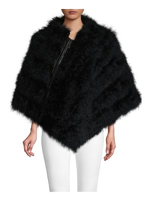 Belle Fare Cape-Sleeve Feather Poncho