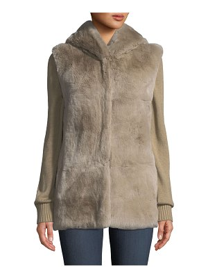 Belle Fare Knit & Fur Hooded Jacket