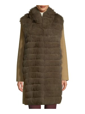 Belle Fare Lightweight Cashmere Coat with Detachable Fur-Front Vest