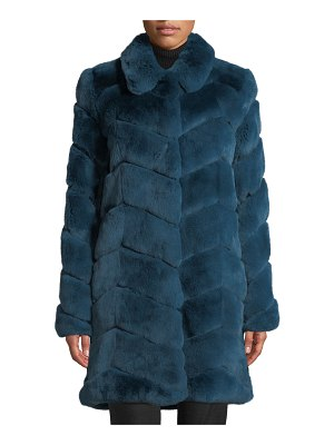 Belle Fare Oversized Chevron Fur Coat