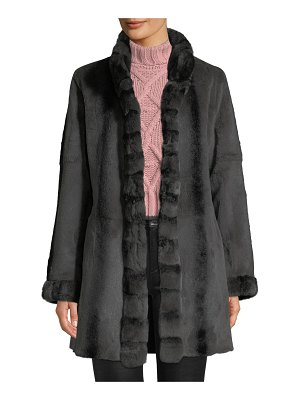 Belle Fare Reversible Long-Sleeve Rabbit-Trim Coat
