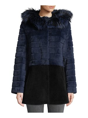 Belle Fare Sheepskin & Rabbit Fur Hooded Coat
