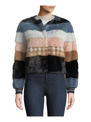 Belle Fare Striped Mink Fur Baseball Jacket