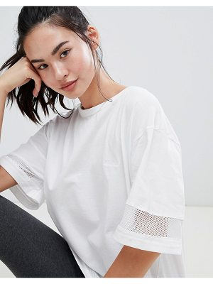 BLFD oversized longline t-shirt with mesh inserts