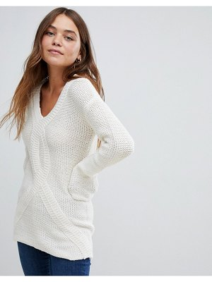 Bellfield cable knit v neck sweater