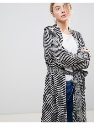 Bellfield jacquard checked wrap cardigan