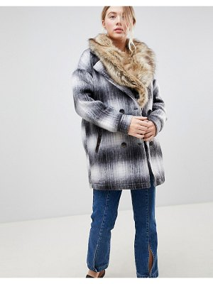 Bellfield wool check coat with faux fur collar