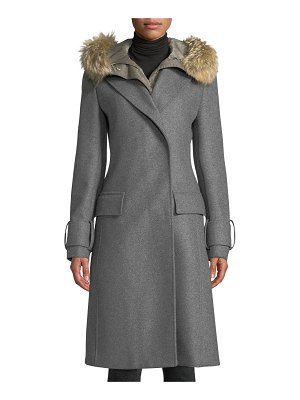 Belstaff Firdale Long Wool Coat w/ Fur-Trim Hood