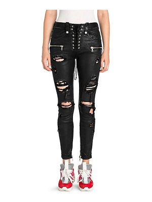 Ben Taverniti Unravel Project distressed leather lace-up skinny jeans