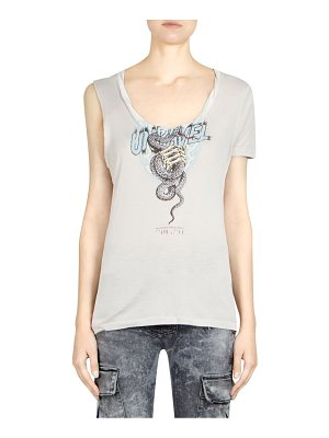 Ben Taverniti Unravel Project snake silk one sleeve tee