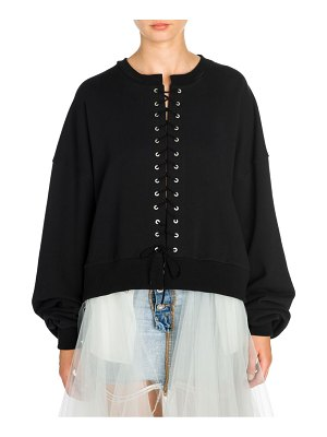 Unravel Project terry lace-up sweatshirt