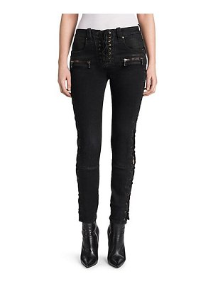 Ben Taverniti Unravel Project wax denim lace-up skinny jeans