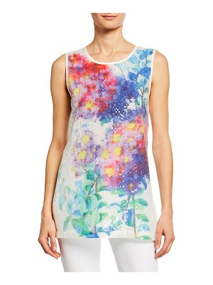 Berek Crinkle Glisten Watercolor Floral-Print Tank with Sequins