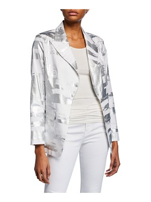 Berek Notched Collar Foil Blazer