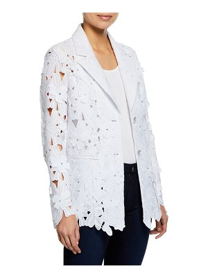 Berek Peek-A-Boo 3D Open Floral Lace Button-Front Jacket