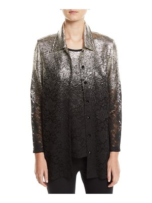 Berek Speckle-Border Easy Shirt Jacket with Lace