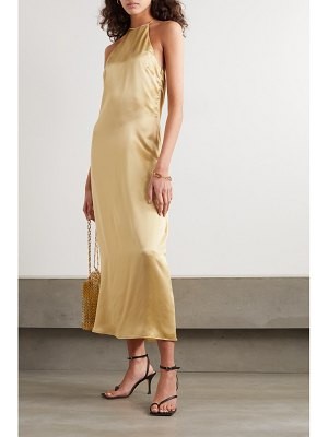 BERNADETTE jack silk-satin halterneck midi dress