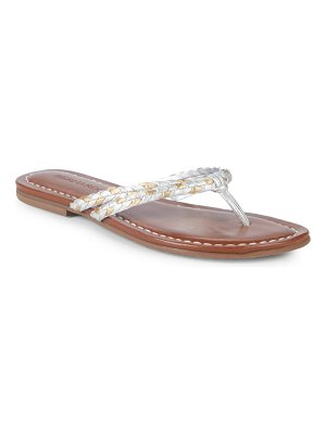 Bernardo Double-Strap Leather Thong Sandals