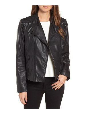 Bernardo shoulder detail leather moto jacket