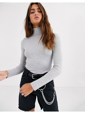 Bershka beshka basic ribbed roll neck sweater in gray