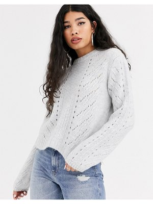 Bershka cable knit sweater in gray