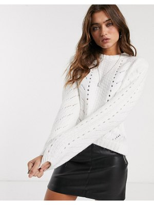Bershka cable knitted sweater in cream