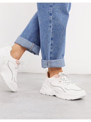 Bershka chunky sneaker with gray and pink piping in white