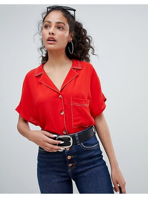 Bershka contrast stitch and pocket detail shirt in red