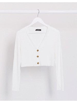 Bershka cropped jersey cardigan in white