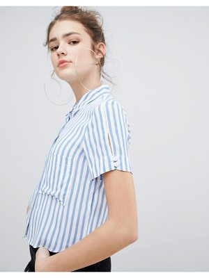 Bershka cropped shirt in blue stripe