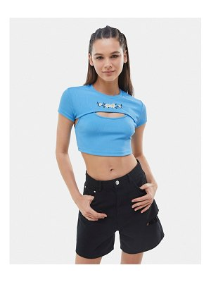 Bershka cut out crop top with embroidered daisies in blue-blues