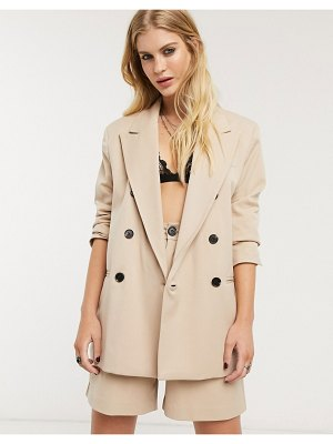 Bershka double breasted blazer two-piece in camel-brown