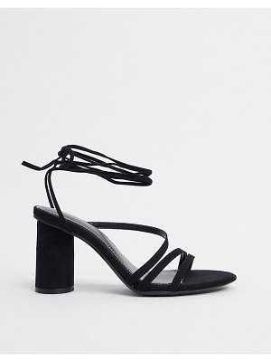 Bershka heel with ankle tie in black