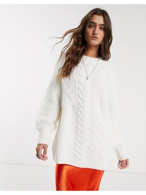 Bershka longline cable knit sweater in ecru-white