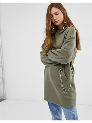 Bershka longline hoodie with chain detail