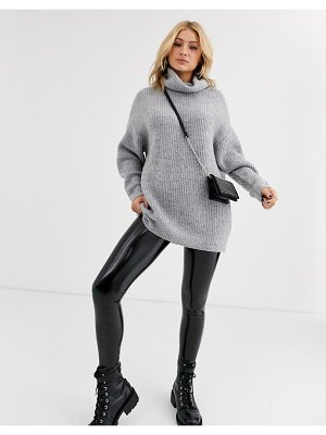 Bershka longline roll neck oversized sweater in gray