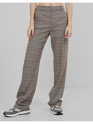 Bershka recycled polyester slouchy tailored plaid pants in brown