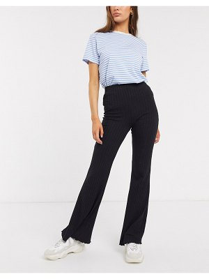 Bershka ribbed flare pants in black
