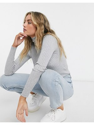 Bershka ribbed roll neck sweater in gray