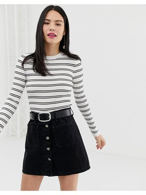 Bershka ribbed striped long sleeve top