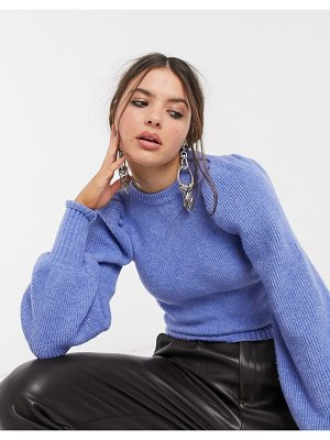 Bershka ribbed volume sleeve sweater in blue