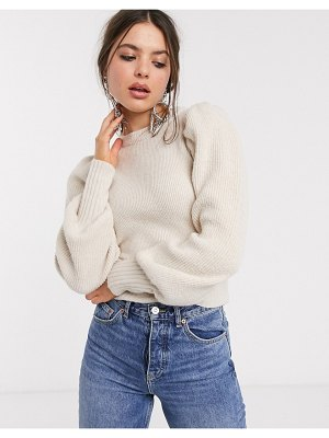 Bershka ribbed volume sleeve sweater in ecru-cream